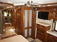 The master bedroom located in the rear of the coach